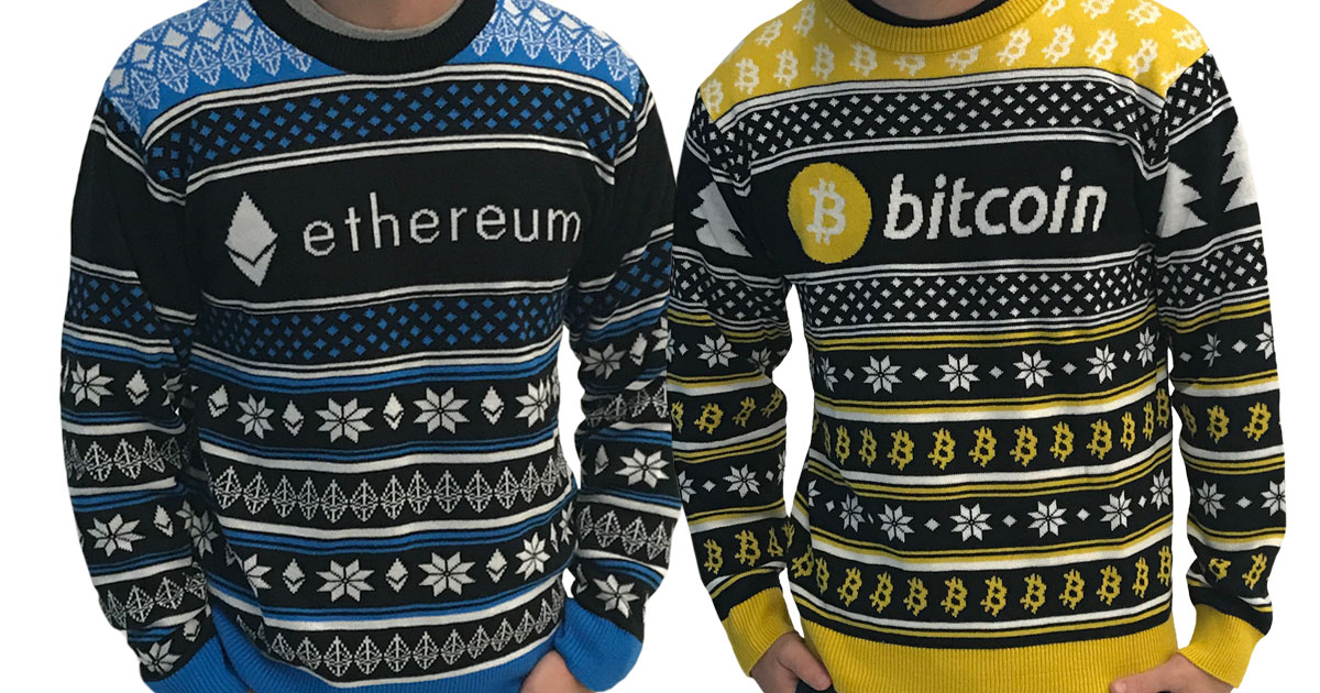 hodlmoon | Fully-Knit Ugly Bitcoin and Ethereum Sweaters